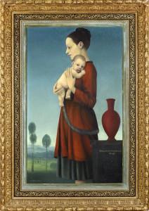 Madonnenbildnis von Jörg Marburg , mit Rahmen - Privatbesitz